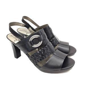 "Brighton Black ""Venti"" Leather Platform Slingbacks"